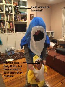 Kid in babyshark costume